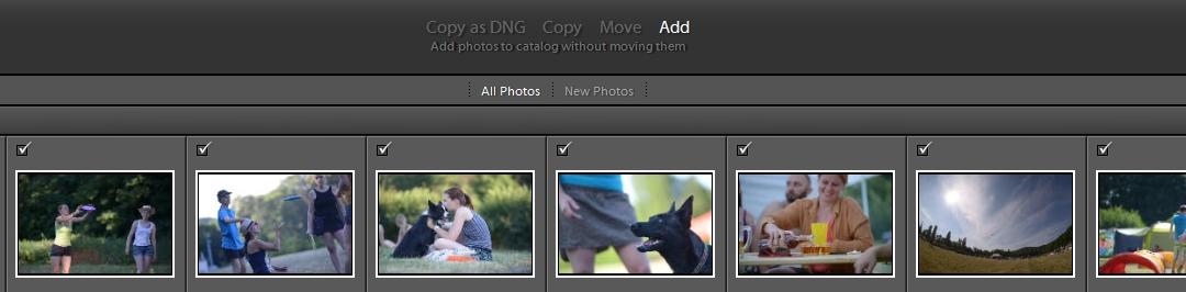 Nastavení toho, co bude Lightroom dělat se soubory fotografií při importu.