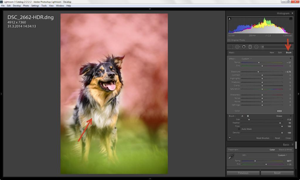 Ukázka použití Brushe při Graduated filteru - Lightroom 6