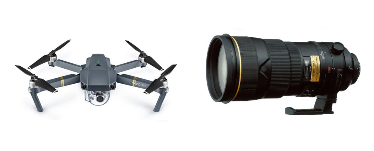 Velikostní srovnání Mavicu a Nikonu 300/2,8.